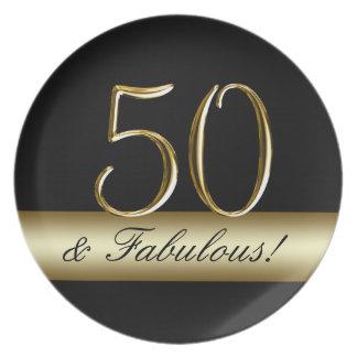 Black Metallic Gold 50th Birthday Plates