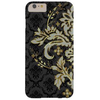 Black & Metallic Gold & Diamond Glitter Lace Barely There iPhone 6 Plus Case