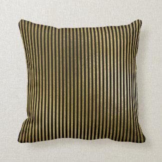 Black Metallic Gold Stripes Lines Minimal Luxury Throw Pillow