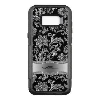 Black Metallic Silver Floral Damask G1 OtterBox Commuter Samsung Galaxy S8+ Case
