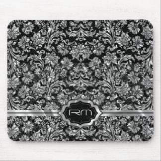 Black & Metallic Silver Floral Damasks  Monogramed Mouse Pad
