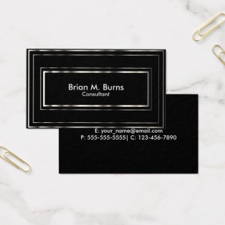 Black Metallic Silver Lines Business Card