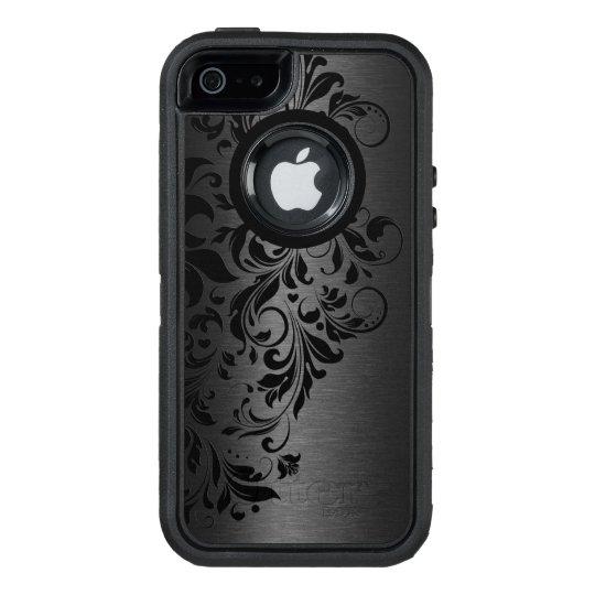 Black Metallic Texture & Black Floral Lace OtterBox Defender iPhone Case