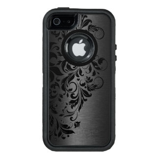 Black Metallic Texture & Black Floral Lace OtterBox iPhone 5/5s/SE Case