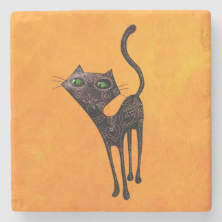 Black Mexican Day of The Dead Cat Stone Coaster