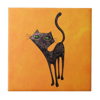 Black Mexican Day of The Dead Cat Tile