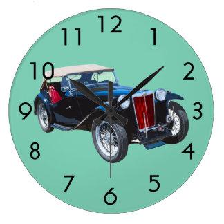 Black Mg Tc Antique Car Large Clock
