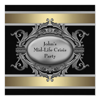 "Black Mid-Life Crisis Mans 40th Birthday Party 5.25"" Square Invitation Card"