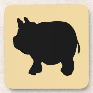 Black Mini Pig Silhouette Drink Coaster