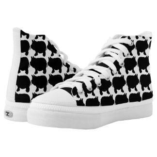 Black Mini Pig Zipz High Top Shoes,