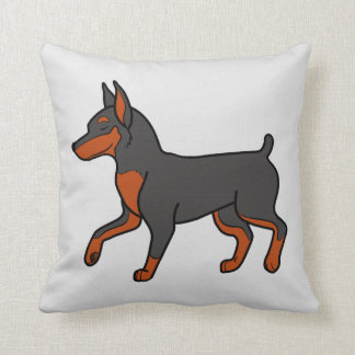 Black Miniature Pinscher Throw Pillow