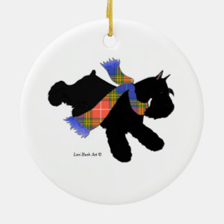Black Miniature Schnauzer Scarf Ornament