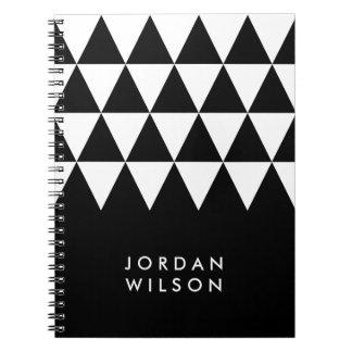 Black Minimalist Modern White Triangle Pattern Notebook