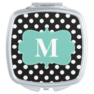 Black Mint Green Dots Monogram Compact Vanity Mirror