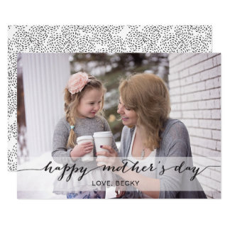 Black Mod Calligraphy Mother's Day Photo Card