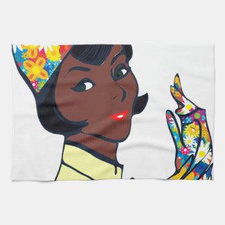 black mod lady hand towels
