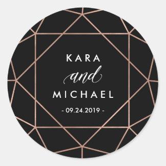Black Modern Geometric Diamond Wedding Round Sticker