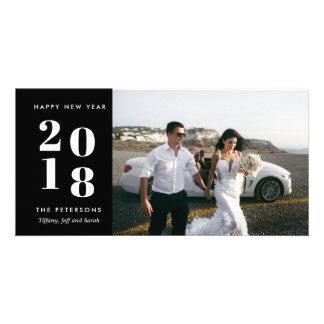 Black Modern Happy New Year Wedding Photo Card
