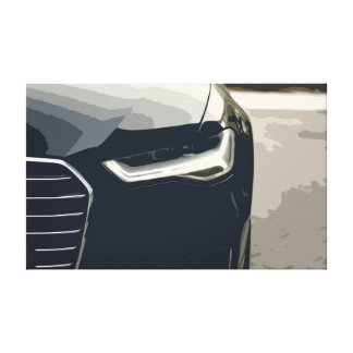 Black Modern Luxury Car Headlights Details Canvas