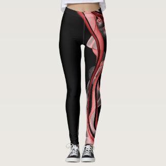 Black modern red pink swirl sophisticated leggings