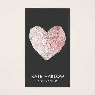 Black Modern Rose Gold Heart  Makeup Artist Business Card