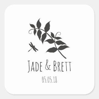 Black Monochrom Wedding Sticker Design