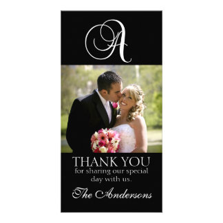 Black Monogram A Wedding Thank You Photo Card