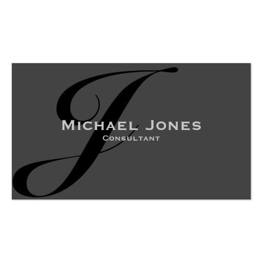 Black Monogram Professional Elegant Modern Business Card Template