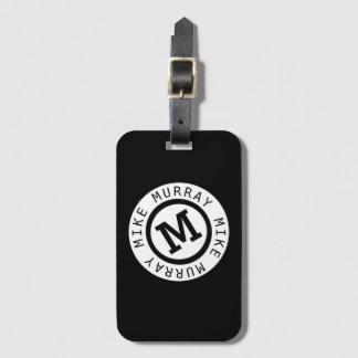 black monogram / round name & initial M letter Luggage Tag