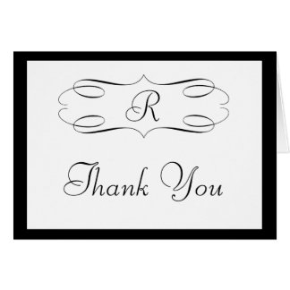 Black Monogram Thank You Card