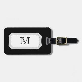 Black Monogram Travel Bag Tag Template