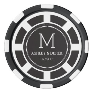 Black Monogram Wedding Poker Chip Set Of Poker Chips