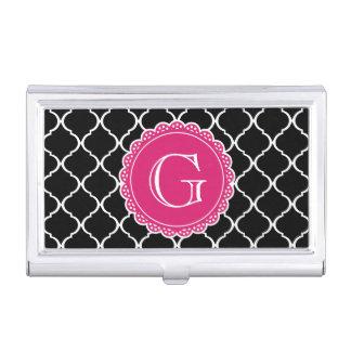 Black Moroccan Lattice Pattern Hot Pink Monogram Business Card Holder