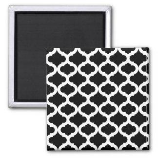 Black Moroccan Pattern Square Magnet
