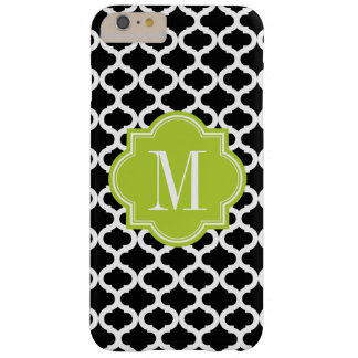 Black Moroccan Pattern with Lime Green Monogram Barely There iPhone 6 Plus Case