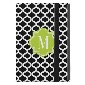 Black Moroccan Pattern with Lime Green Monogram iPad Mini Case