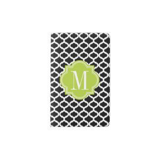Black Moroccan Pattern with Lime Green Monogram Pocket Moleskine Notebook