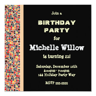 Black Mosaic Birthday Party Invitation