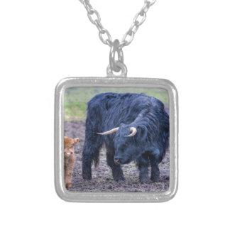 Black mother scottish highlander cow silver plated necklace