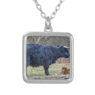Black mother scottish highlander cow with calf silver plated necklace