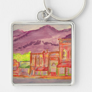 black mountain art Silver-Colored square keychain