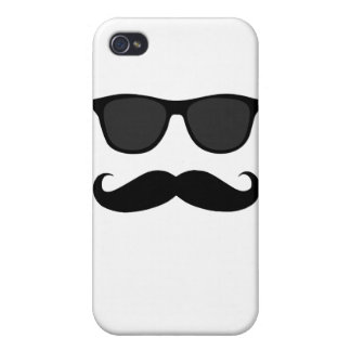 Black Moustache and Sunglasses Humour Gift Covers For iPhone 4