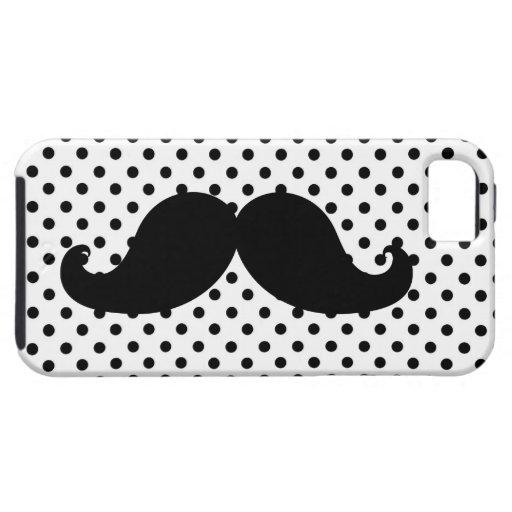Black Moustache Polka Dots iPhone 5 Cases