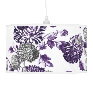 Black Mulberry & Black & White Botanical Floral Ceiling Lamps