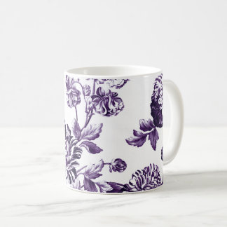 Black Mulberry Purple Vintage Floral Toile No.2 Coffee Mug