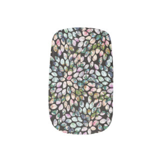 Black Multi-Colored Graphic Floral Nail Art Decals