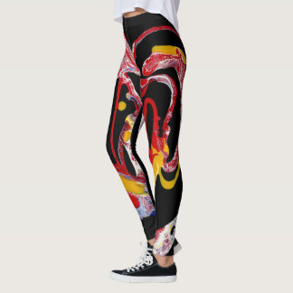 "Black, Multi-Colored Leggings - ""Crazy Heart"""