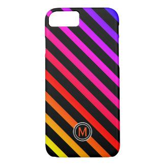 Black & Multi Colour Diagonal Stripe Monogram iPhone 8/7 Case