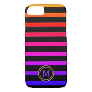 Black & Multi Colour Stripe Monogram iPhone 8/7 Case