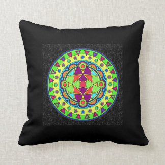 BLACK MULTICOLOR MANDALA THROW PILLOW